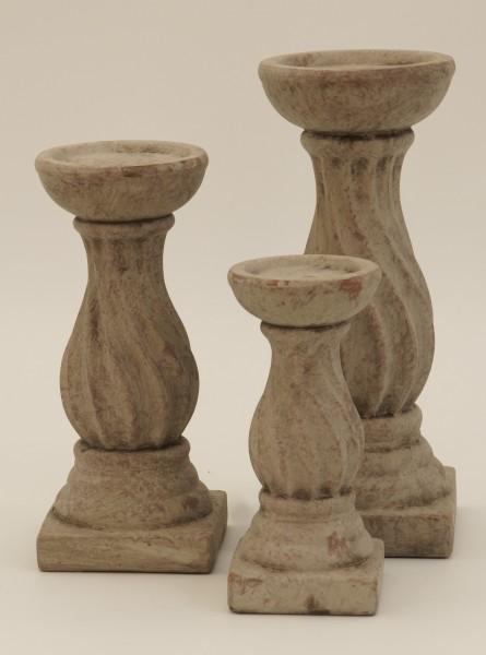Kerzenleuchter, Keramik grau, H 19 cm