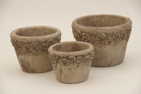 Übertopf m. Rosenrand, grau Keramik, D12xH9 cm