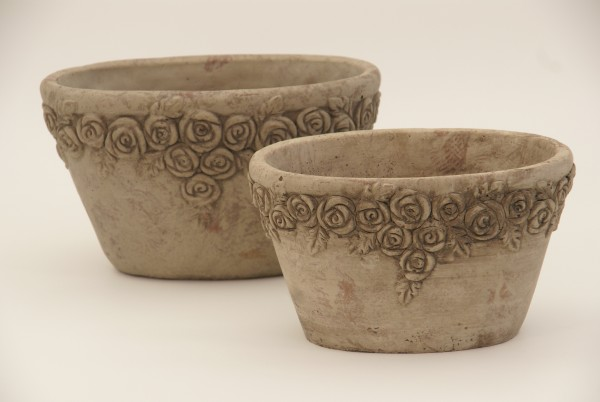 Übertopf m. Rosenrand, oval ,Keramik, 22,5x14,5x13 cm